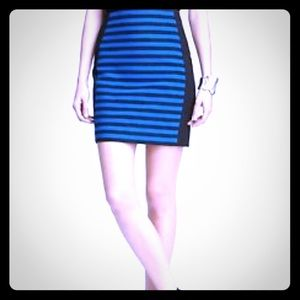 Ann Taylor black pencil skirt royal blue stripes.